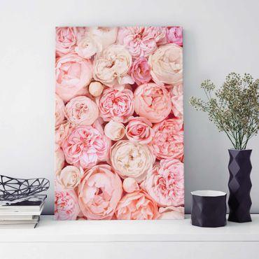 Glasbild - Rosen Rosé Koralle Shabby - Hochformat 3:2