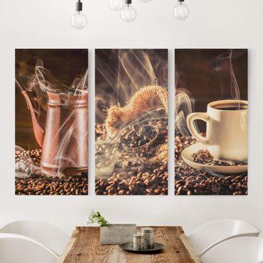 Leinwandbild 3-teilig - Kaffee - Dampf - Hoch 1:2