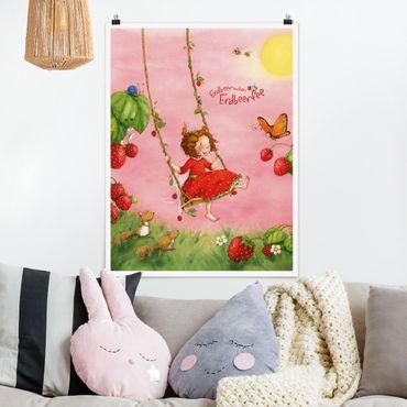 Poster - Erdbeerinchen Erdbeerfee - Baumschaukel - Hochformat 3:4