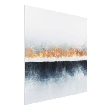 Forex Fine Art Print - Goldener Horizont Aquarell - Quadrat 1:1