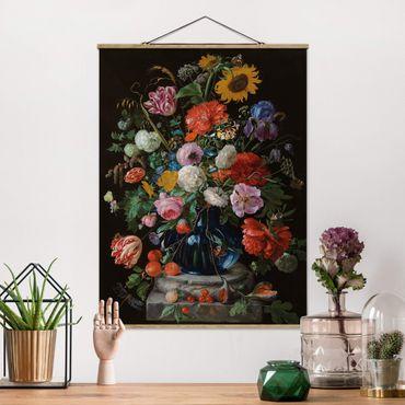 Stoffbild mit Posterleisten - Jan Davidsz de Heem - Glasvase mit Blumen - Hochformat 3:4