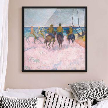 Bild mit Rahmen - Paul Gauguin - Reiter am Strand - Quadrat 1:1