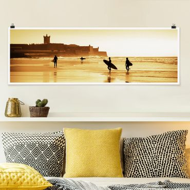 Poster - Surfer Beach - Panorama Querformat