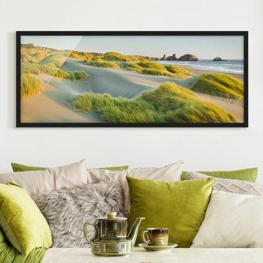 Bild mit Rahmen - Dünen und Gräser am Meer - Panorama Querformat