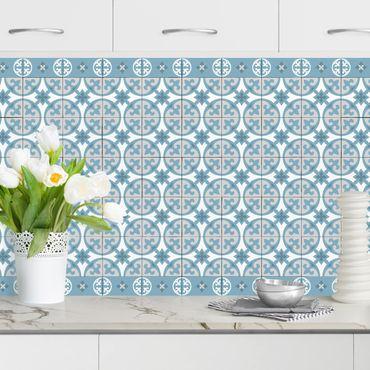 Küchenrückwand - Geometrischer Fliesenmix Kreise Blaugrau