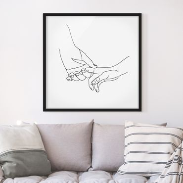 Bild mit Rahmen - Zärtliche Hände Line Art - Quadrat 1:1