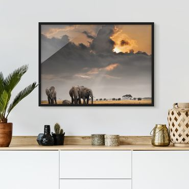 Bild mit Rahmen - Elefanten der Savanne - Querformat 3:4