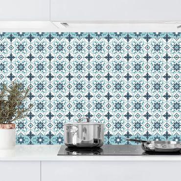 Küchenrückwand - Geometrischer Fliesenmix Blume Türkis