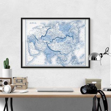Bild mit Rahmen - Karte in Blautönen - Asien - Querformat 3:4