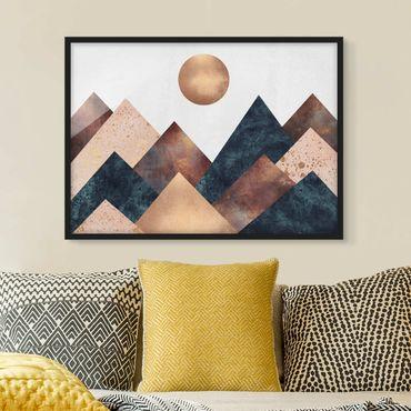 Bild mit Rahmen - Geometrische Berge Bronze - Querformat 3:4