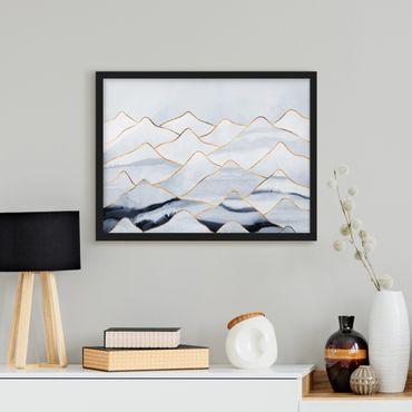 Bild mit Rahmen - Aquarell Berge Weiß Gold - Querformat 3:4