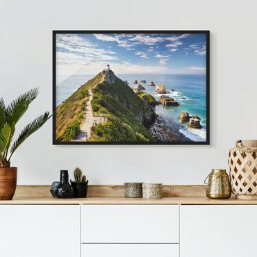 Bild mit Rahmen - Nugget Point Leuchtturm und Meer Neuseeland - Querformat 3:4