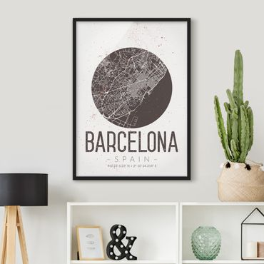 Bild mit Rahmen - Stadtplan Barcelona - Retro - Hochformat 3:4