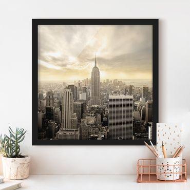 Bild mit Rahmen - Manhattan Dawn - Quadrat 1:1
