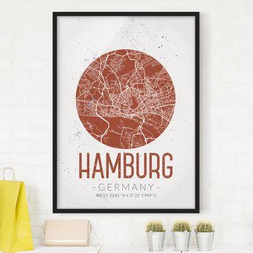 Bild mit Rahmen - Stadtplan Hamburg - Retro - Hochformat 3:4
