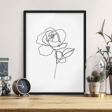 Bild mit Rahmen - Line Art Rose Schwarz Weiß - Hochformat 4:3