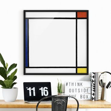 Bild mit Rahmen - Piet Mondrian - Komposition III - Quadrat 1:1