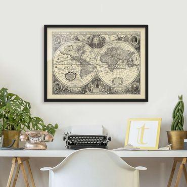 Bild mit Rahmen - Vintage Weltkarte Antike Illustration - Querformat 3:4