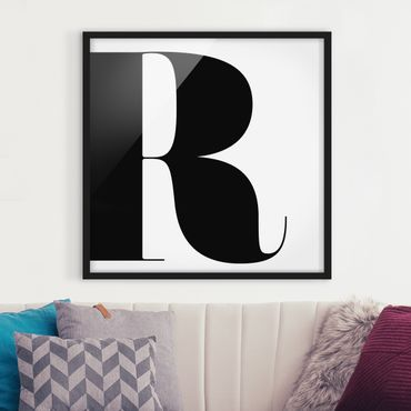 Bild mit Rahmen - Antiqua Letter R - Quadrat 1:1