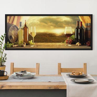 Bild mit Rahmen - Wein mit Ausblick - Panorama Querformat
