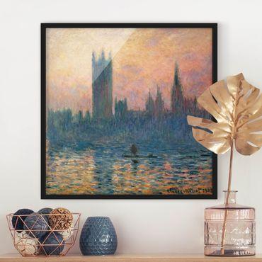 Bild mit Rahmen - Claude Monet - London Sonnenuntergang - Quadrat 1:1