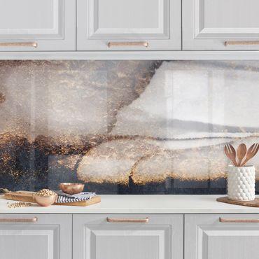 Küchenrückwand - Goldener Marmor gemalt