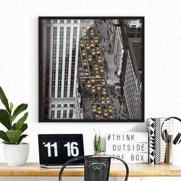 Bild mit Rahmen - Taxiverkehr in Manhattan - Quadrat 1:1