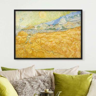 Bild mit Rahmen - Vincent van Gogh - Kornfeld mit Schnitter - Querformat 3:4
