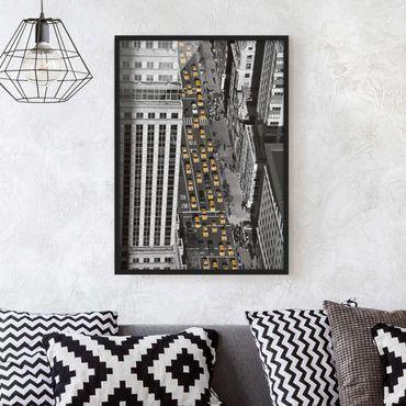 Bild mit Rahmen - Taxiverkehr in Manhattan - Hochformat 3:4