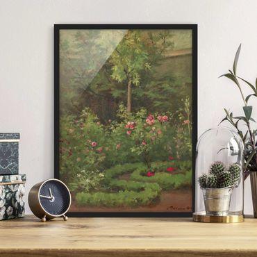 Bild mit Rahmen - Camille Pissarro - Ein Rosengarten - Hochformat 4:3