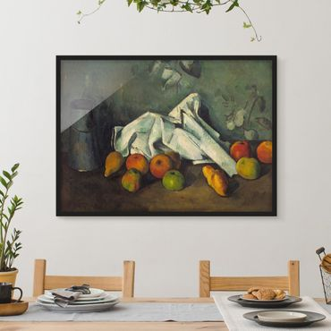 Bild mit Rahmen - Paul Cézanne - Milchkanne und Äpfel - Querformat 3:4