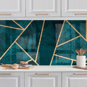 Küchenrückwand - Dunkles Türkis mit Gold