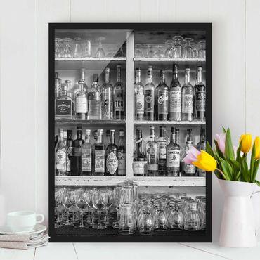 Bild mit Rahmen - Bar Schwarz Weiß - Hochformat 3:4