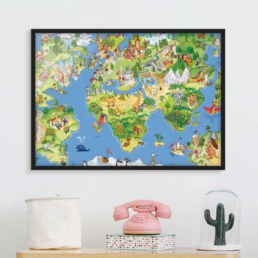 Bild mit Rahmen - Great and funny Worldmap - Querformat 3:4