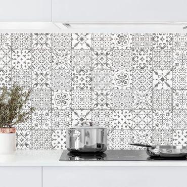 Küchenrückwand - Musterfliesen Grau Weiß