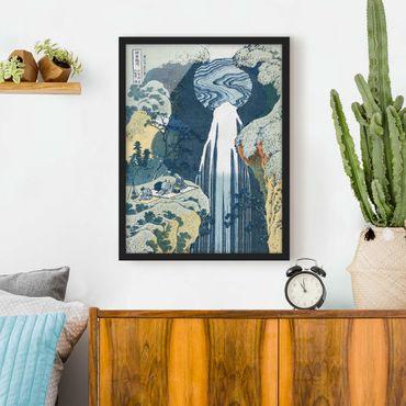 Bild mit Rahmen - Katsushika Hokusai - Der Wasserfall von Amida - Hochformat 3:4