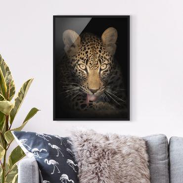 Bild mit Rahmen - Resting Leopard - Hochformat 3:4