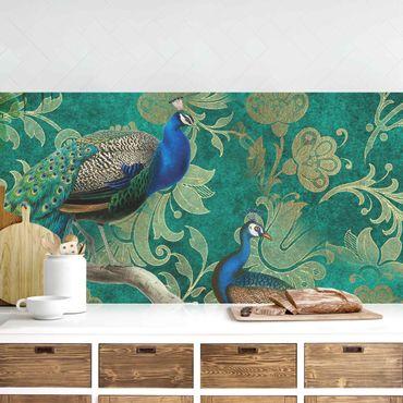 Küchenrückwand - Shabby Chic Collage - Edler Pfau II