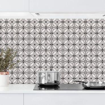 Küchenrückwand - Fliesenmuster Stern Geometrie schwarz