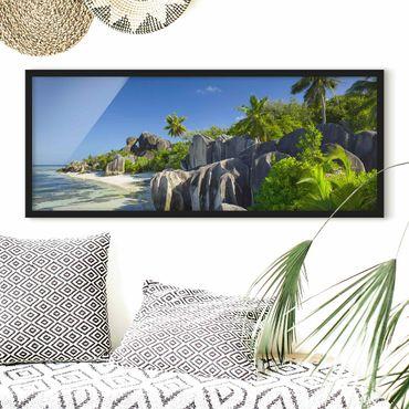 Bild mit Rahmen - Traumstrand Seychellen - Panorama Querformat