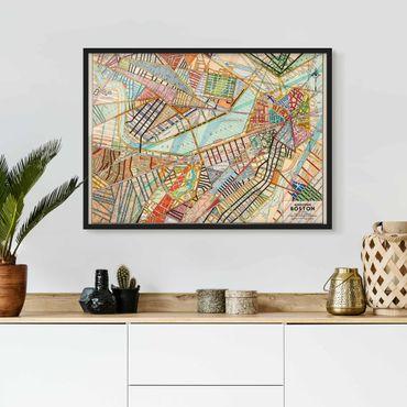 Bild mit Rahmen - Moderne Karte von Boston - Querformat 3:4