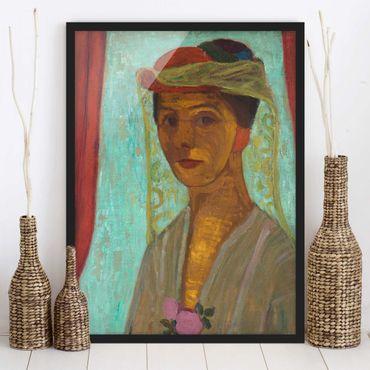 Bild mit Rahmen - Paula Modersohn-Becker - Selbstbildnis mit Hut - Hochformat 3:4