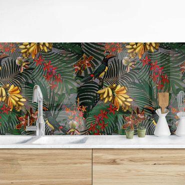 Küchenrückwand - Tropische Farne mit Tucan Grün