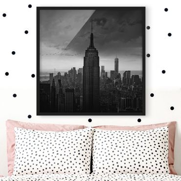 Bild mit Rahmen - New York Rockefeller View - Quadrat 1:1