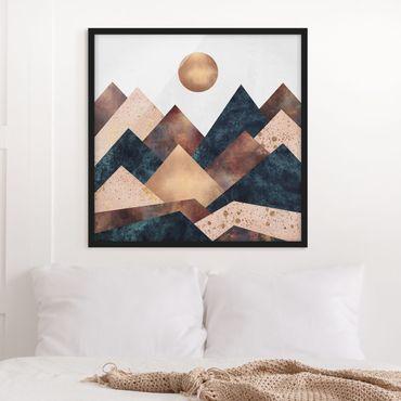Bild mit Rahmen - Geometrische Berge Bronze - Quadrat 1:1