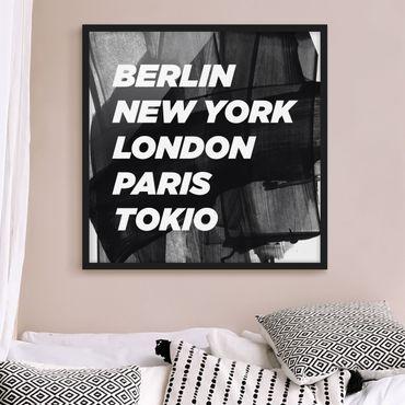 Bild mit Rahmen - Berlin New York London - Quadrat 1:1