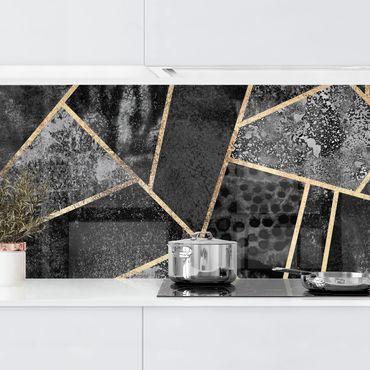 Küchenrückwand - Graue Dreiecke Gold