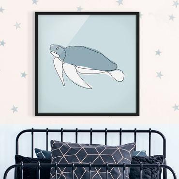 Bild mit Rahmen - Schildkröte Line Art - Quadrat 1:1