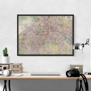 Bild mit Rahmen - Vintage Stadtplan Berlin - Querformat 3:4