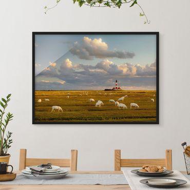 Bild mit Rahmen - Nordsee Leuchtturm mit Schafsherde - Querformat 3:4